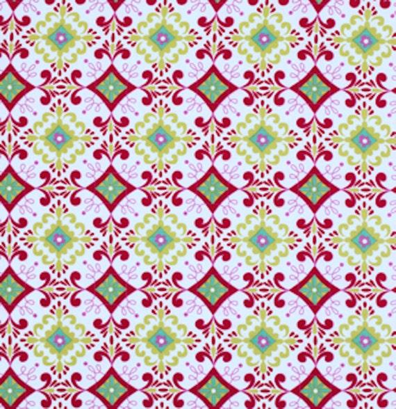 Dena Designs PWDF159 Love /& Joy Flower Dot Red Cotton Fabric By Yard
