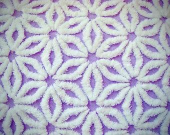 Hofmann Supertuft Lavender Daisy Plush Vintage Cotton Chenille 12 x 24 Inches