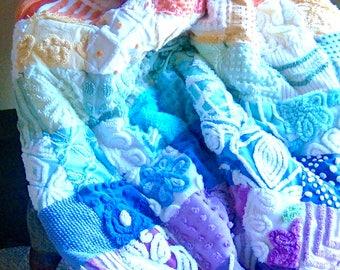 OVER THE RAINBOW ~ Made-to-Order Custom Design Vintage Cotton Chenille Patchwork Quilt for Custom Ordering Only