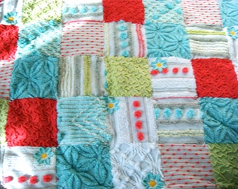 BOHEMIAN RHAPSODY ~ Made-to-Order Custom Design Vintage Cotton Chenille Patchwork Quilt for Custom Ordering Only