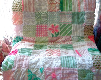 IN THE MEADOW ~ Made-to-Order Custom Design Vintage Cotton Chenille Patchwork Quilt for Custom Ordering Only