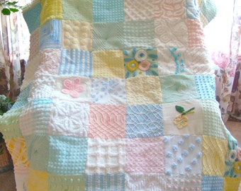 PASTEL TREASURE ~ Made-to-Order Custom Design Vintage Cotton Chenille Patchwork Quilt for Custom Ordering Only