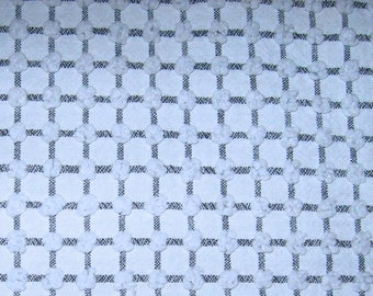 Morgan Jones Black Windowpane on White with White Pops Vintage Chenille Bedspread Fabric 11.5 x 25 Inches
