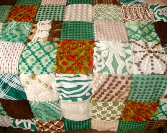 WOODLAND PEACE ~ Made-to-Order Custom Design Vintage Cotton Chenille Patchwork Quilt for Custom Ordering Only