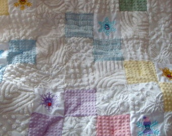 FLOATING SNOWFLAKES ~ Made-to-Order Custom Design Vintage Cotton Chenille Patchwork Quilt for Custom Ordering Only