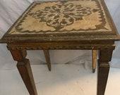Vintage FLORENTINE WOOD TABLE, , Gold Leaf Table, Small Italian Tole Table, Nesting Table, Italian Wood Table, Regency, Florentine, Tole