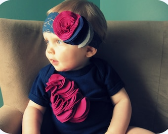 Infant Girl Lace Headband, Magenta Navy And Grey Flower Buds, Navy Blue Lace Elastic, Photography Prop