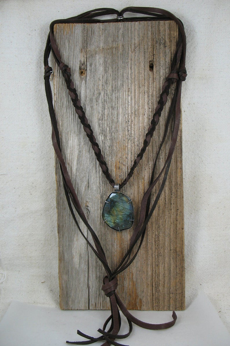 Long Leather Tassel Necklace,Long Leather Labradorite Tassel Necklace,Boho Chic Leather Necklace,Long Braided Brown Leather Necklace,lln398