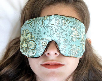 Adjustable Weighted Travel Sleep Eye Mask Pillow - Satin Brocade/Velvet – Flax Seed Filled - Optional Lavender Scent – Blue Lagoon