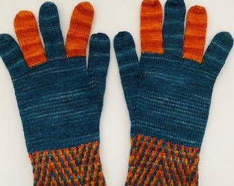 Two-color gloves - original women's hand knit sample from I Knit New York OOAK