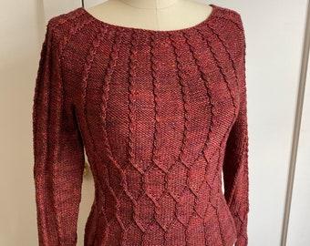 Handknit women's pullover size M - Sotherton, Jane Austen Knits OOAK