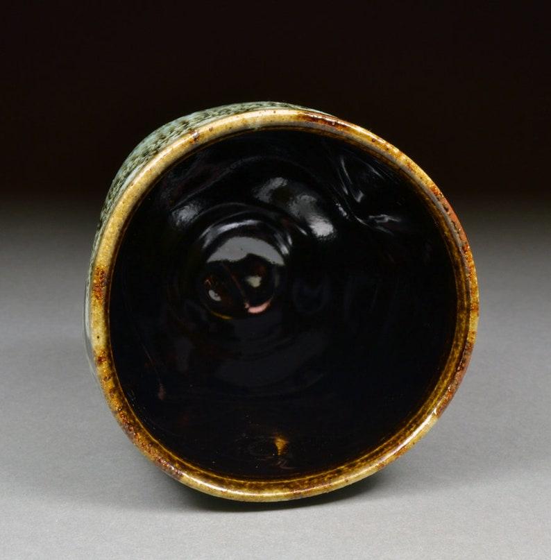 Handmade Tenmoku and Nuka Glazed Yunomi Tea Cup with Unique One of a Kind Glaze finish.