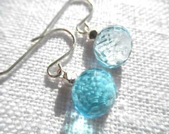 Swiss blue topaz earrings - topaz earrings - blue earrings - silver earrings - L A U R E N 058