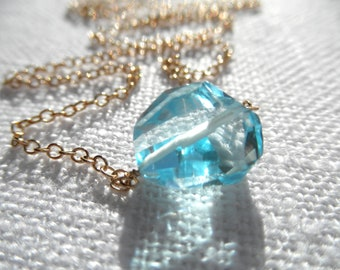 Swiss blue topaz necklace - gold necklace - swiss blue topaz nugget - K A T E 162