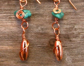 Southwest Fiesta Copper Dangle and Turquoise Chip Earrings 4