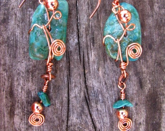 Southwest Fiesta Turquoise and Copper Dangle Earrings 3