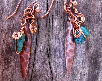 Desert Oasis Turquoise and Copper Dangle Earrings 6