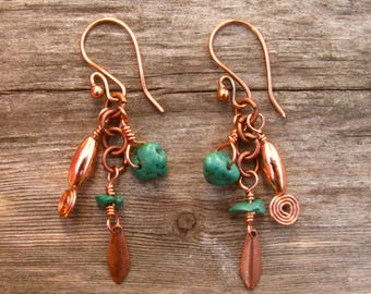 Southwest Fiesta Turquoise and Copper Dangle Earrings 5
