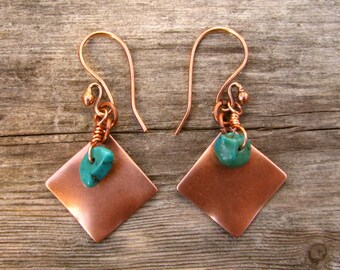 Desert Oasis Copper Dangle and Turquoise Chip Earrings 3