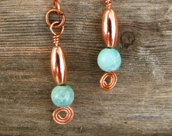 Southwest Fiesta Copper and Turquoise Bead Earrings 2
