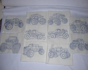Machine Embroidered Redwork Monster Trucks Quilt Blocks