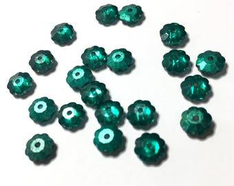 Green Glass Flower Beads, Shiny/Matte Reversible, 5mm, Pack of 25
