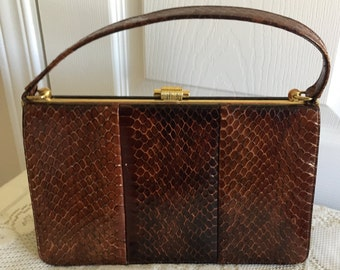 cce9bf5dca 70s Brown Snakeskin/Leather Hard Sided Handbag Purse Coret Made in Canada