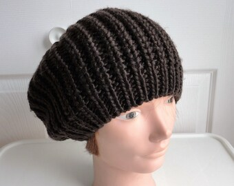 c5d4de65a984c 90s Dark brown acrylic slouchy beret women hat One size Made in China