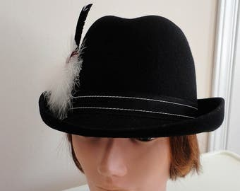 70s Black doeskin felt feather women hat small 21 1 4 inches Bollmann a358e136bbe9