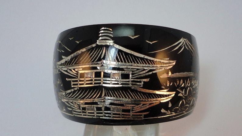 40s Silver Niello Pagoda Wide Cuff Vintage