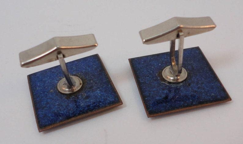 60s Blue Confetti  Enamel on Copper Square Cuff Links Artisan Made QC