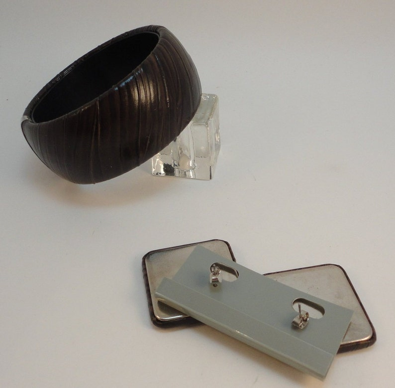 80s Dark Brown Leather Covered Wide Bangle BraceletSquare Stud Earrings Vintage