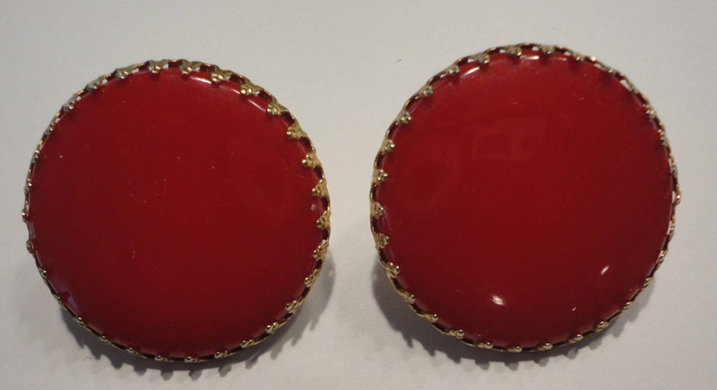 60s Red Large Buttons Lucite Clip Earrings Artistic