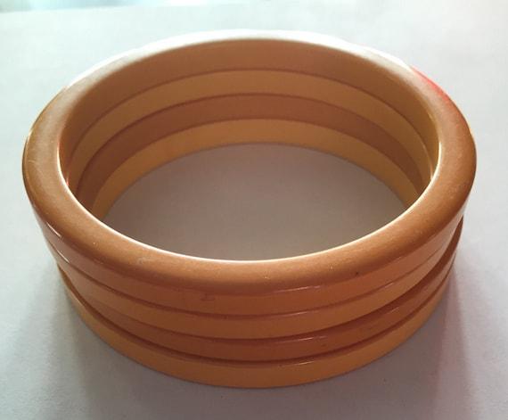 50s Solid yellow genuine bakelite  Bangle Bracelet