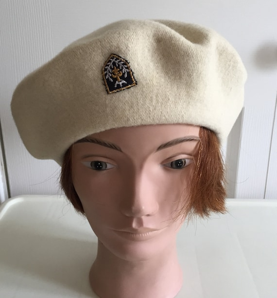 80s Cream Wool Beret Women Hat 11 Large Beatnik Look Vintage  237893a354dd