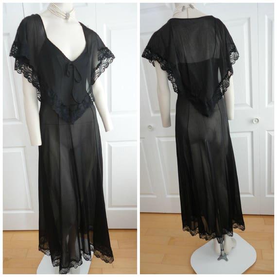 60s Black Sheer Nylon Lace Long Women Nightgown Small APA Creations Made  Canada Gorgeous 782460eeb