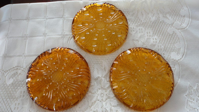 70s Amber Yellow clear glass  3 bread plates Swirl  Dots