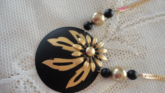 80s Black Enamel/Goldtone Necklace/Earrings Set
