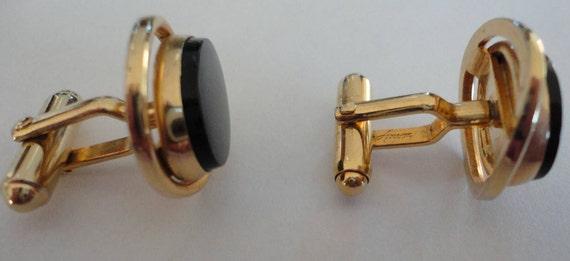 60s Black Oval Confetti LuciteGoldplate Cufflinks Chic
