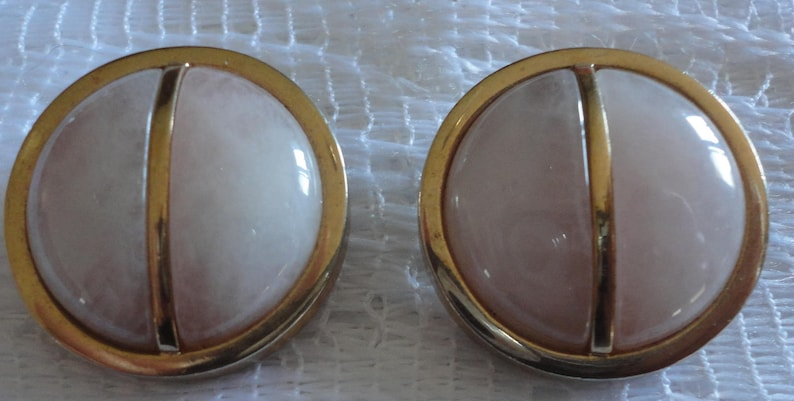 60s  Rose QuartzGold plate Round Clips Earrings