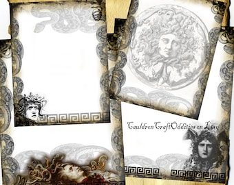 Medusa Parchment Digital 4 Page Set - Monster Horror Halloween Spell Book, Scrapbook Paper, Book of Shadows, Graphics, Wiccan