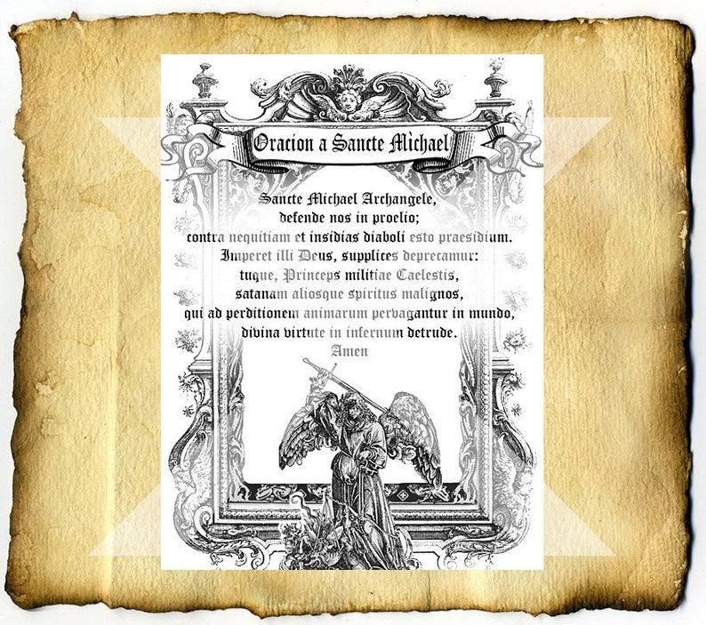 Saint Michael's Prayer in Latin - Digital Download Graphic Page, home  clearing blessing protection