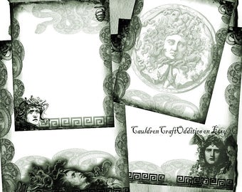 Medusa Parchment Digital 4 Page Green Set - Monster Horror Halloween Spell Book, Scrapbook Paper, Book of Shadows, Graphics, Wiccan