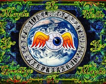Trippy Flying Eye Pendulum Board -  Neon Glow - Digital Download emailed to you