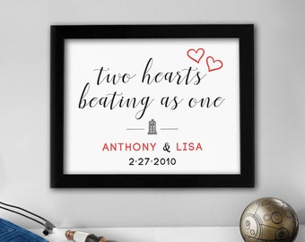 Custom Doctor Who Print // Two Hearts Beating As One // 8x10 TARDIS Couples Art - Personalized Names & Wedding Date/Year // Wall Art Prints