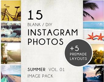 Summer Styled Instagram/Social Media Photos // 15 Blank DIY Image Pack + 5 Premade Designs for IG Posts! DOWNLOAD