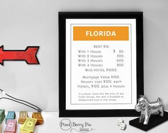 Monopoly Custom State Print // Property Card Art, 8x10 Artwork // State decor, wall art // Classic board game print, birthday gift