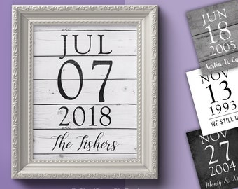 Custom Numbered Wedding & Anniversary Date Art Prints // 8x10 size, 4 background styles // Personalized Wedding Gift Artwork