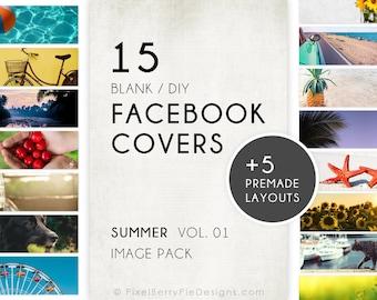 Summer Facebook Covers // 15 Blank DIY Image Pack + 5 Premade Designs! FB Branding Layout Bundle DOWNLOAD