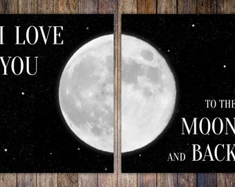 """2-Piece Art Print Set """"I love you to the moon and back"""" Mother's Day Gift, Graduation Gift // 8x10 Home Decor Nursery Artwork // SHIPPED"""